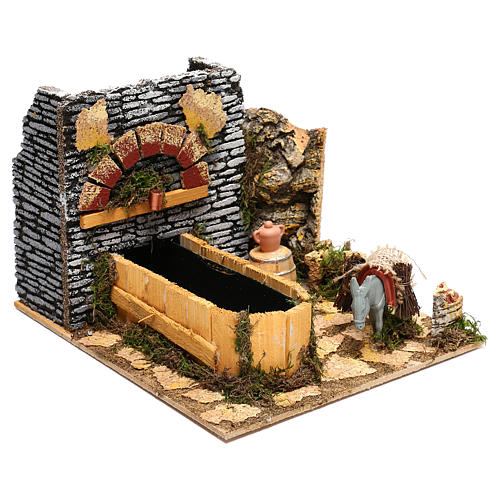 Working fountain and donkey Nativity scenes 10 cm 3