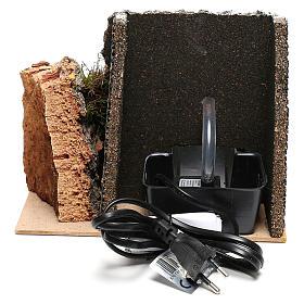 Scène fontaine électrique et âne crèche 10 cm s4