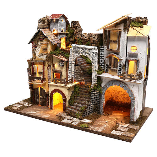 Village with staircase, lights and stable Nativity scenes 8 cm 2