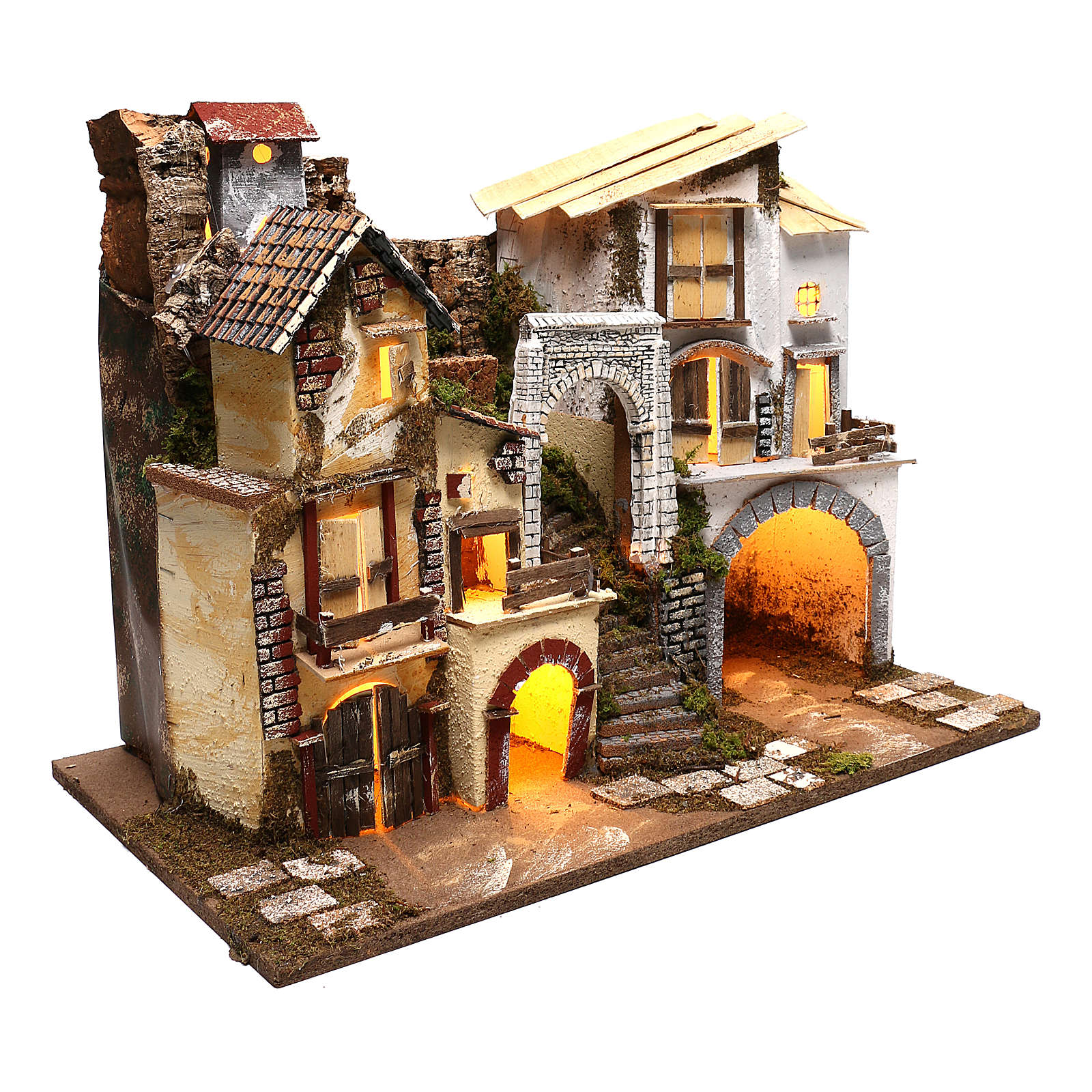 Pueblo con luces escaleras y establo belenes 8 cm 4