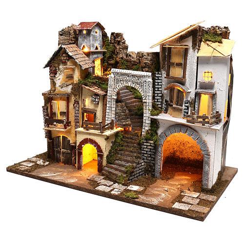 Pueblo con luces escaleras y establo belenes 8 cm 2