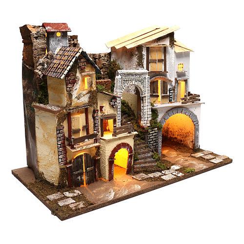 Pueblo con luces escaleras y establo belenes 8 cm 3