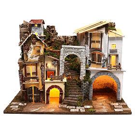 Village avec lumières escalier et étable crèche 8 cm s1