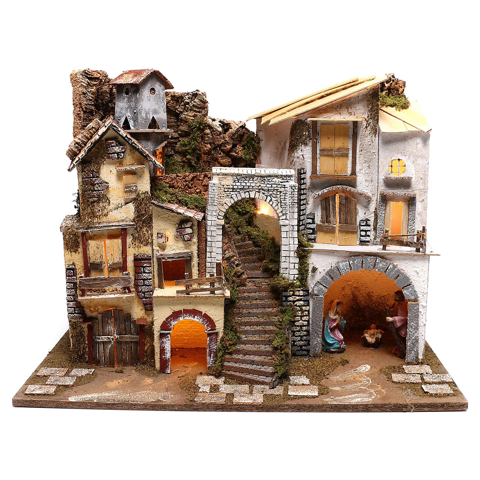 Village éclairé avec Nativité 10 cm 4
