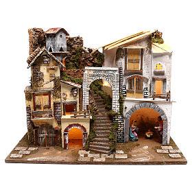 Village éclairé avec Nativité 10 cm s1