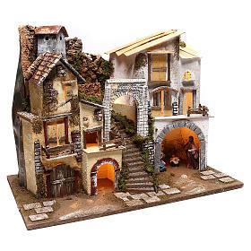 Village éclairé avec Nativité 10 cm s4
