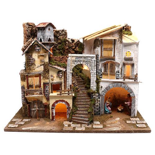 Village éclairé avec Nativité 10 cm 1