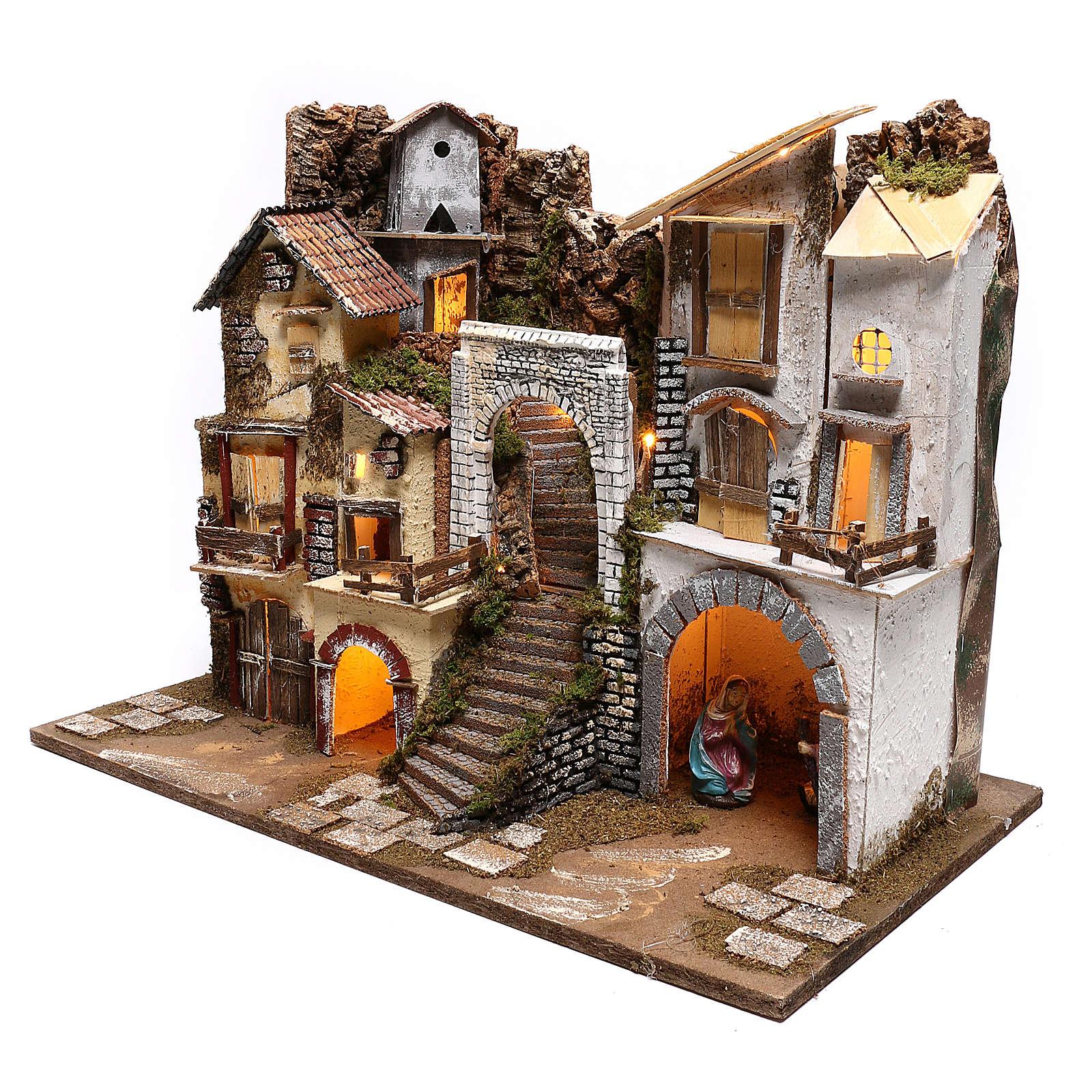 Borgo illuminato con Natività 10 cm 4