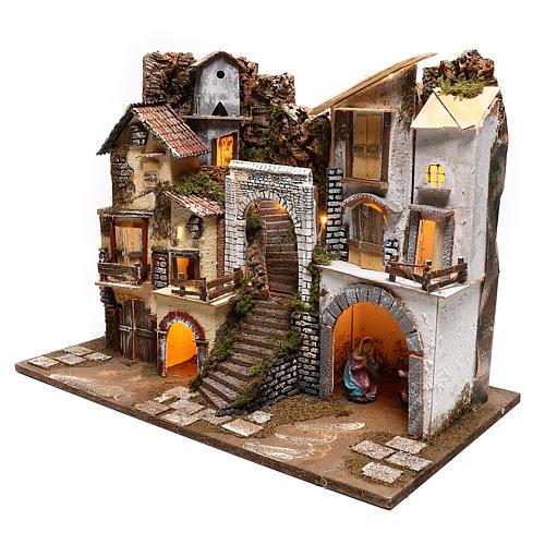Borgo illuminato con Natività 10 cm 3