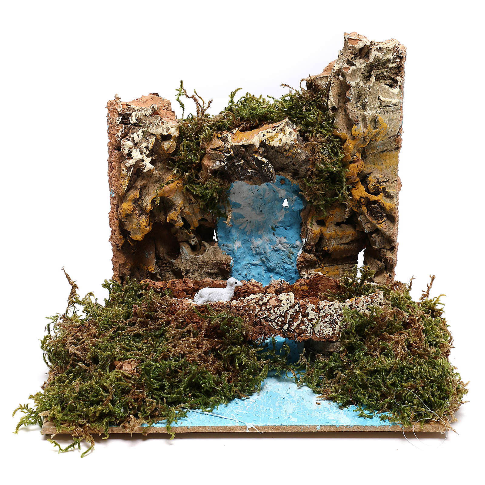 Waterfall with goat on bridge Nativity scene 6 cm 4