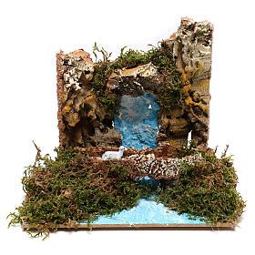 Waterfall with goat on bridge Nativity scene 6 cm s1
