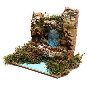 Waterfall with goat on bridge Nativity scene 6 cm s2