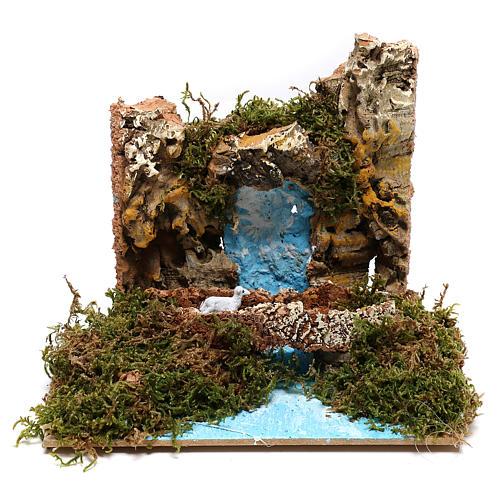 Waterfall with goat on bridge Nativity scene 6 cm 1
