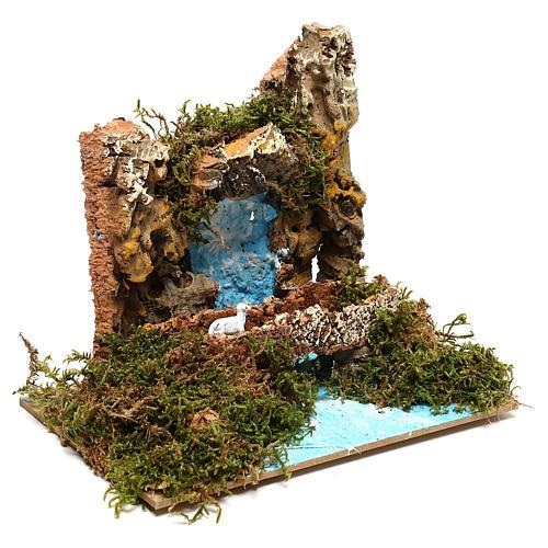 Waterfall with goat on bridge Nativity scene 6 cm 3