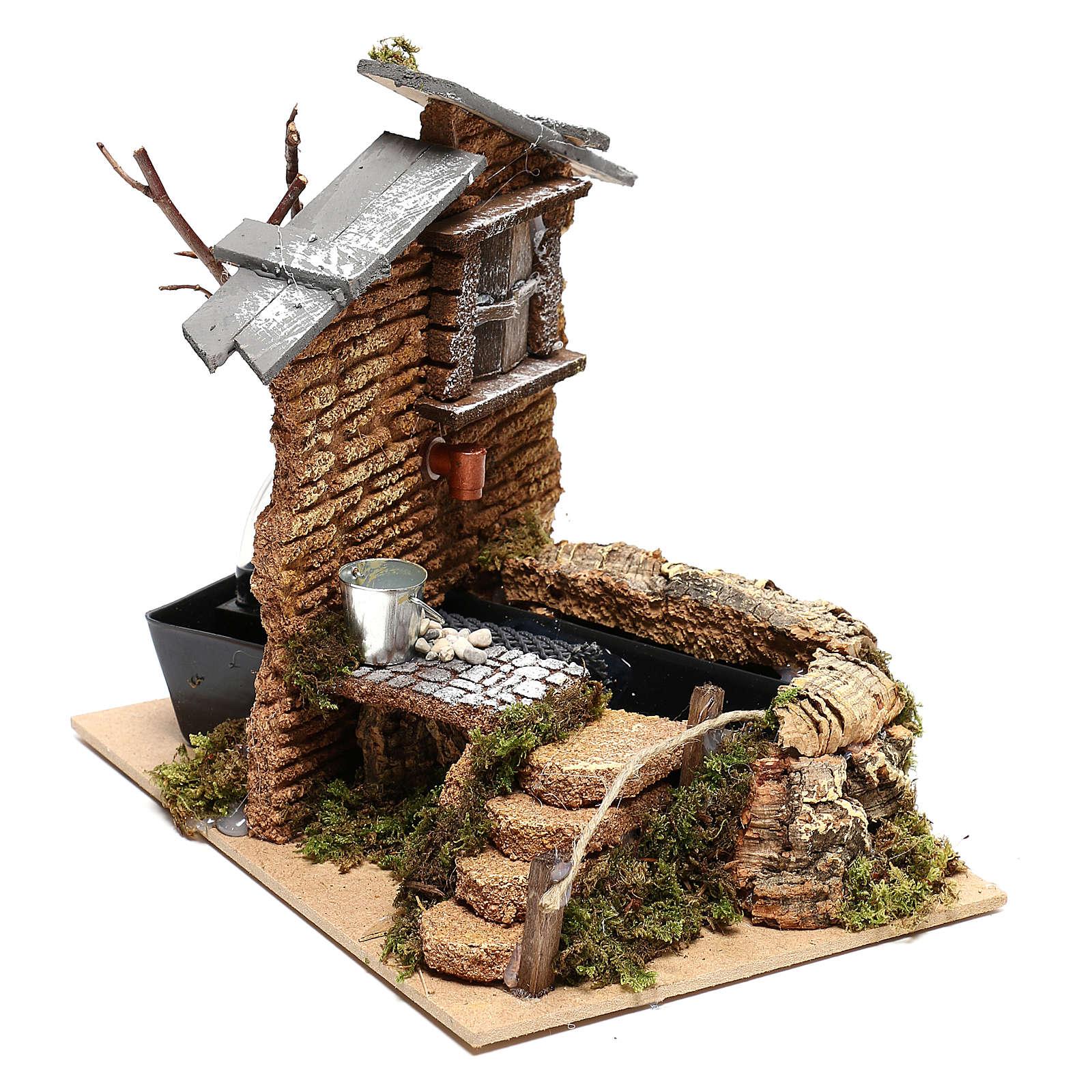 Fontana funzionante in muratura con secchiello per presepi 11 cm 4