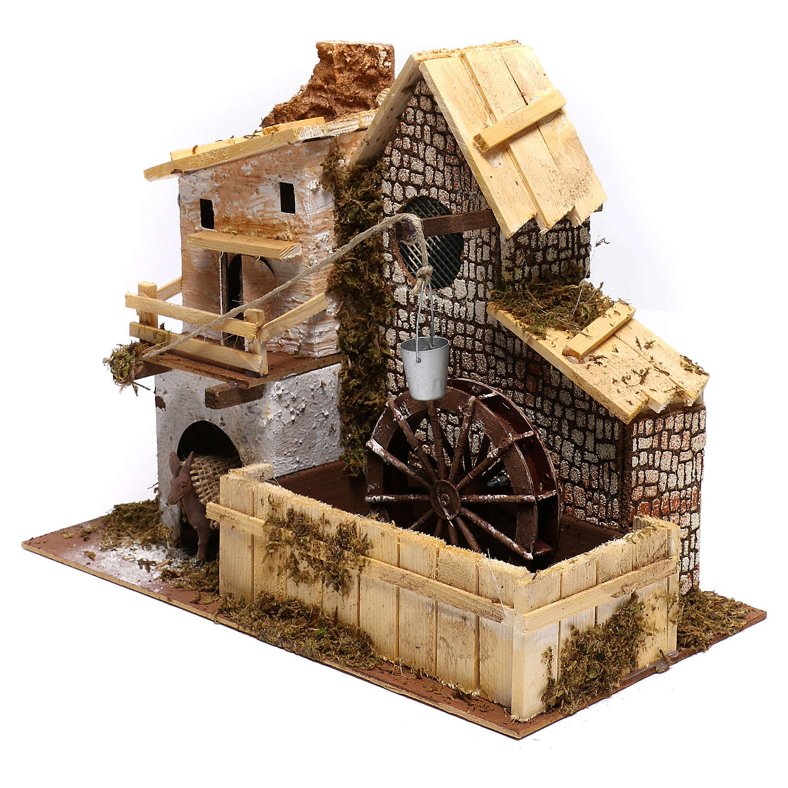 Nordic farmhouse with working mill and donkey Nativity scenes 9 cm 4