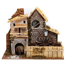 Nordic farmhouse with working mill and donkey Nativity scenes 9 cm s1
