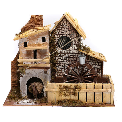 Nordic farmhouse with working mill and donkey Nativity scenes 9 cm 1