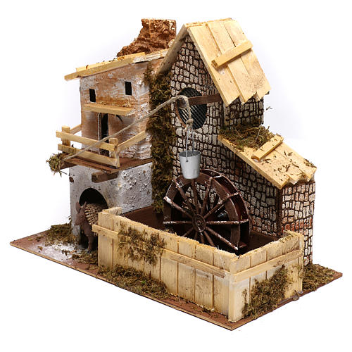 Nordic farmhouse with working mill and donkey Nativity scenes 9 cm 2