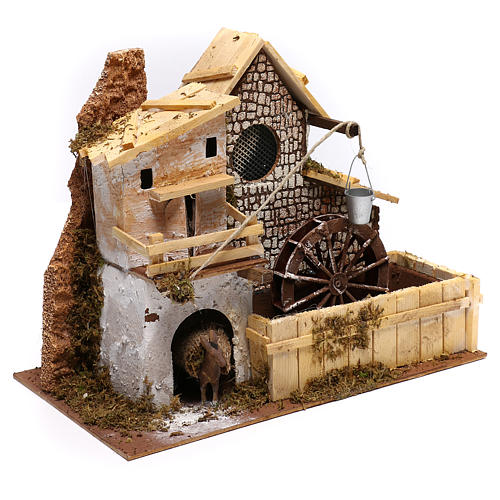Nordic farmhouse with working mill and donkey Nativity scenes 9 cm 3