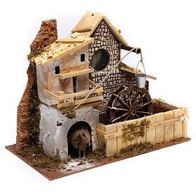 Caserío con molino funcionante y burro belenes 9 cm s3