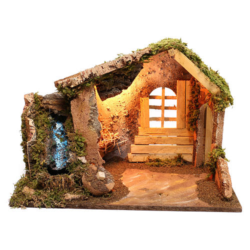 Wooden hut with working side waterfall Nativity scene 14 cm 1