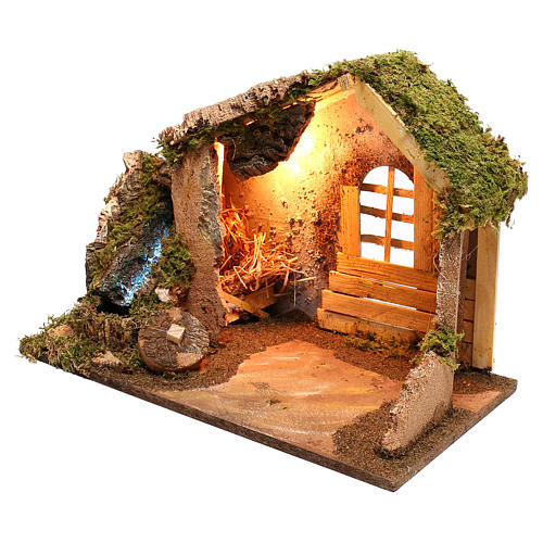Wooden hut with working side waterfall Nativity scene 14 cm 2