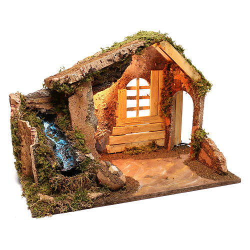 Wooden hut with working side waterfall Nativity scene 14 cm 3