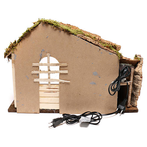 Wooden hut with working side waterfall Nativity scene 14 cm 4