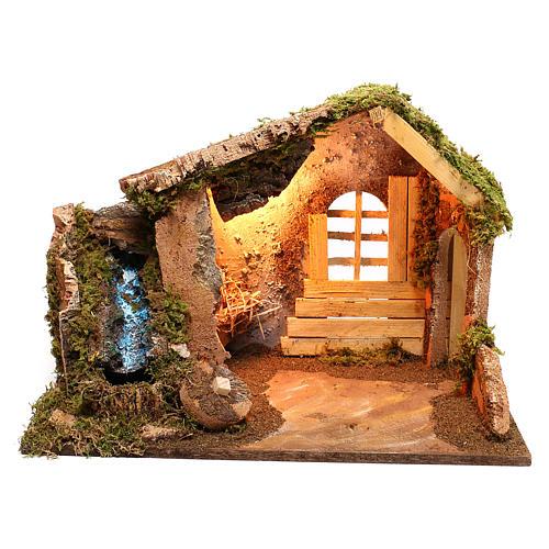 Cabaña de madera con cascada lateral que funciona belén 14 cm 1