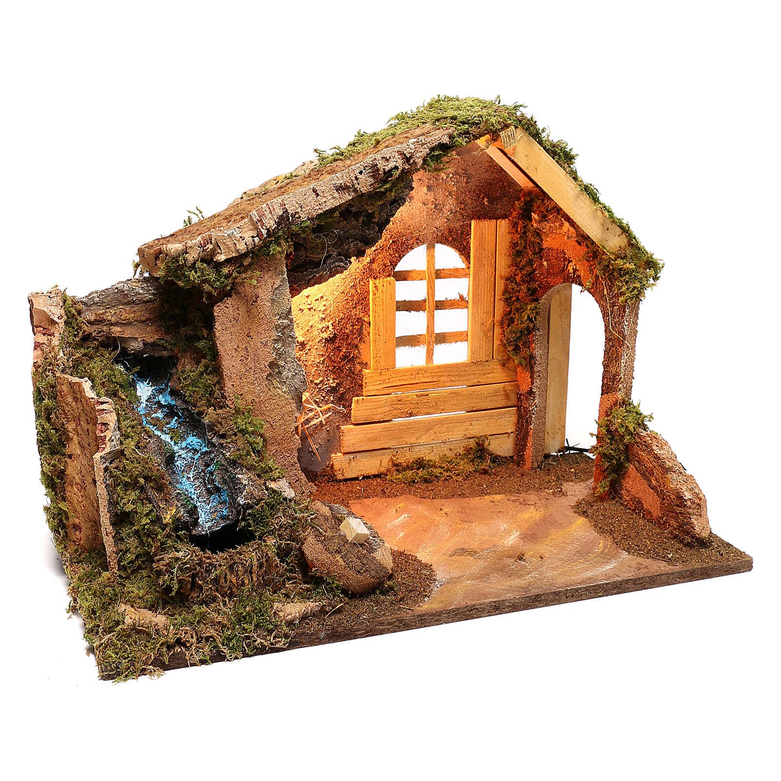 Capanna in legno con cascata laterale funzionante presepe 14 cm 4