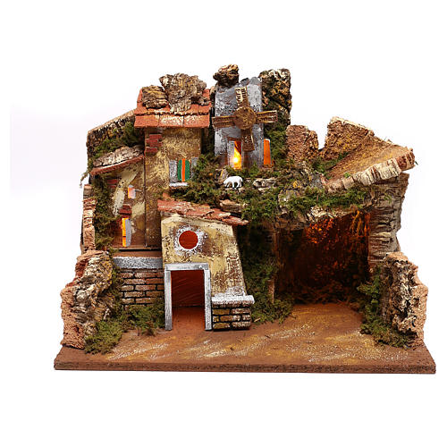 Landscape with houses and working windmill Nativity Scene 9 cm 1