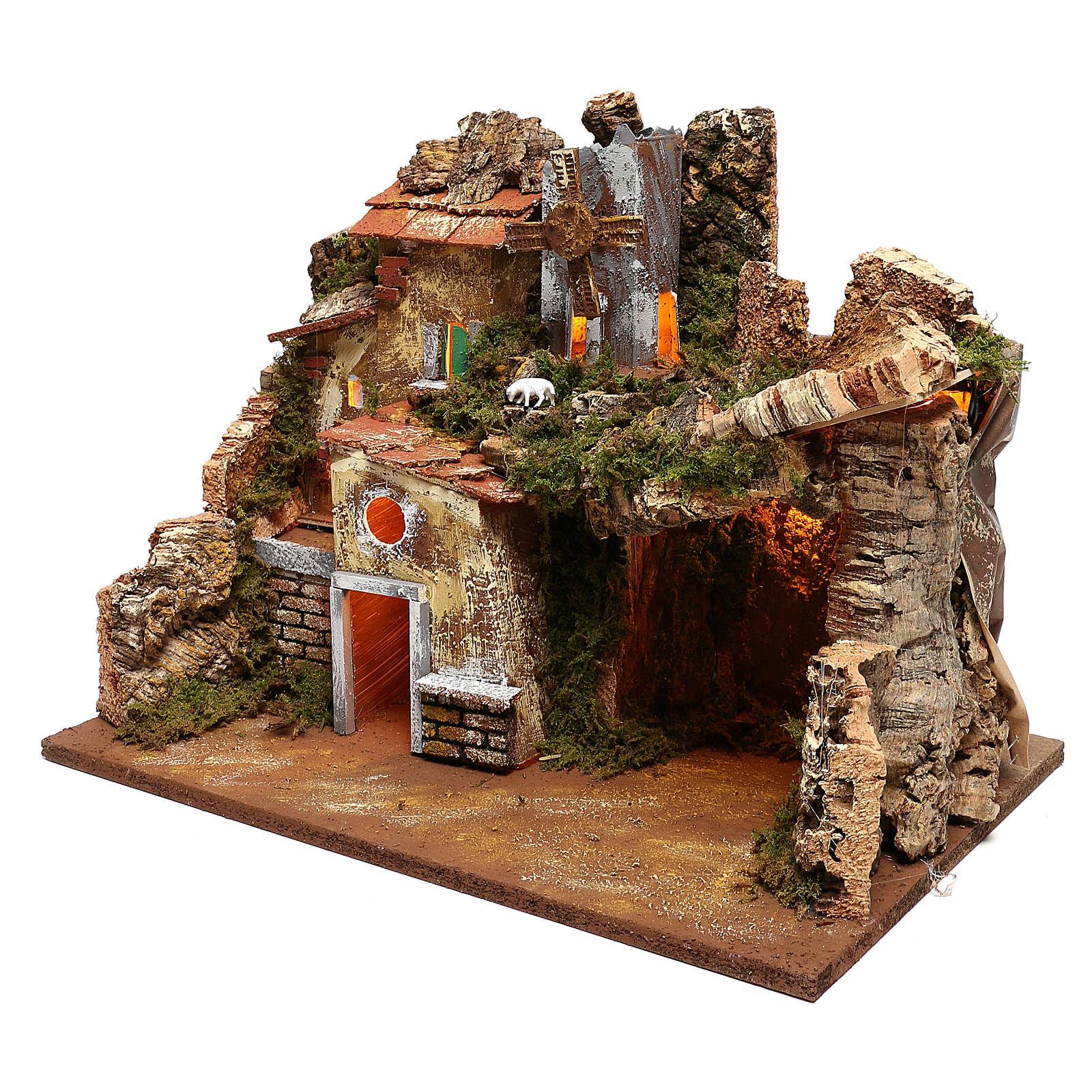 Paisaje casas y molino de viento que funciona belenes 9 cm 4