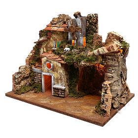 Paisaje casas y molino de viento que funciona belenes 9 cm s2