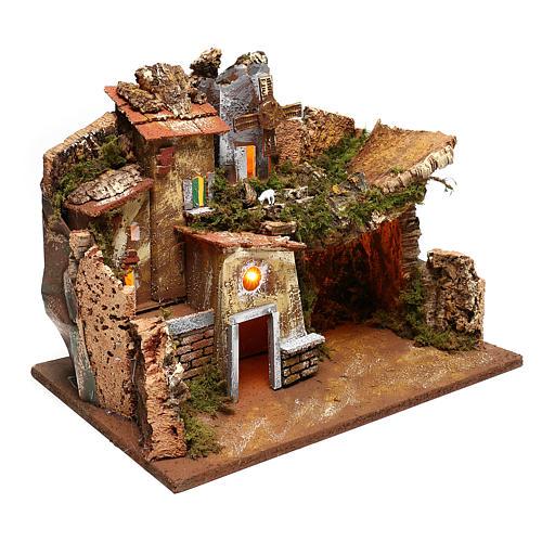 Paisaje casas y molino de viento que funciona belenes 9 cm 3