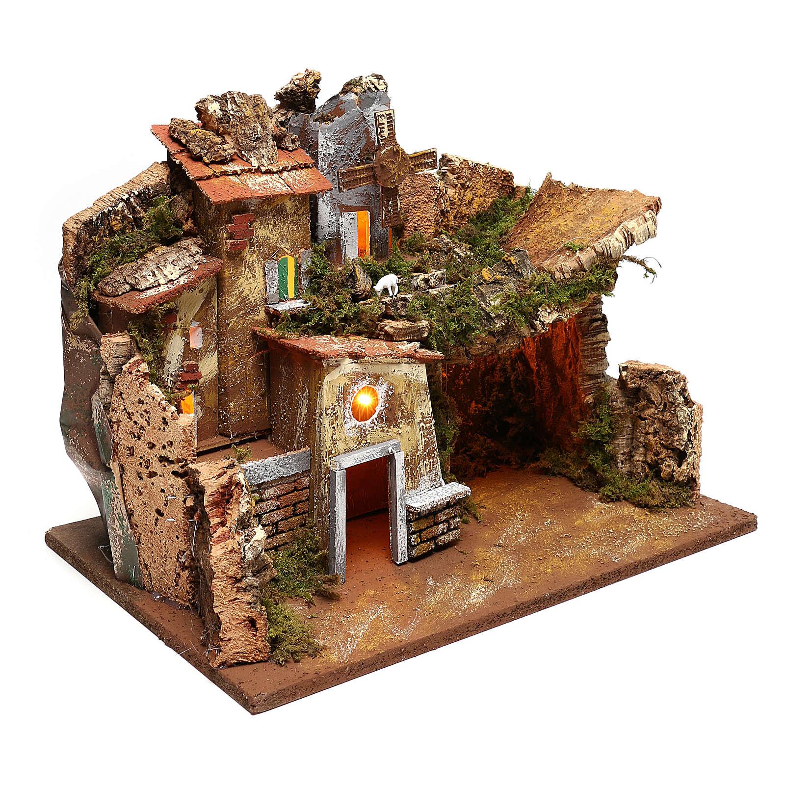 Paesaggio case e mulino a vento funzionante presepi 9 cm 4