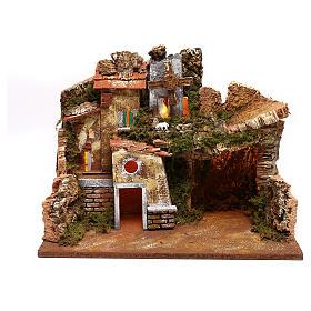 Paesaggio case e mulino a vento funzionante presepi 9 cm s1