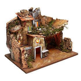 Paesaggio case e mulino a vento funzionante presepi 9 cm s3