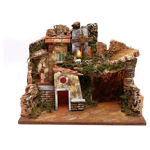 Paesaggio case e mulino a vento funzionante presepi 9 cm 1