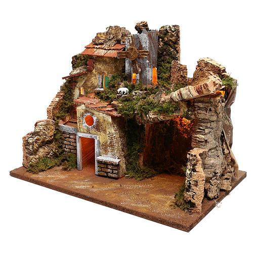 Paesaggio case e mulino a vento funzionante presepi 9 cm 2