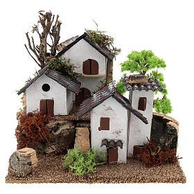 Ambientações para Presépio: lojas, casas, poços: Aldeia de pequenas dimensões 15x20x15 cm cenário para presépio com figuras de 3-4 cm de altura média