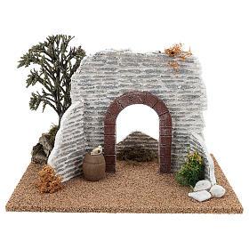 Muro con arco 15x25x15 cm ambientazione presepe 8-10 cm s1