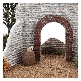 Muro con arco 15x25x15 cm ambientazione presepe 8-10 cm s2