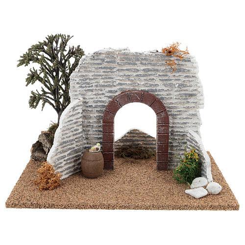 Muro con arco 15x25x15 cm ambientazione presepe 8-10 cm 1