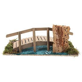 Puente con barandilla 10x25x10 cm ambientación belén 6-8 cm s5
