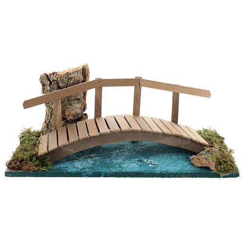 Puente con barandilla 10x25x10 cm ambientación belén 6-8 cm 1