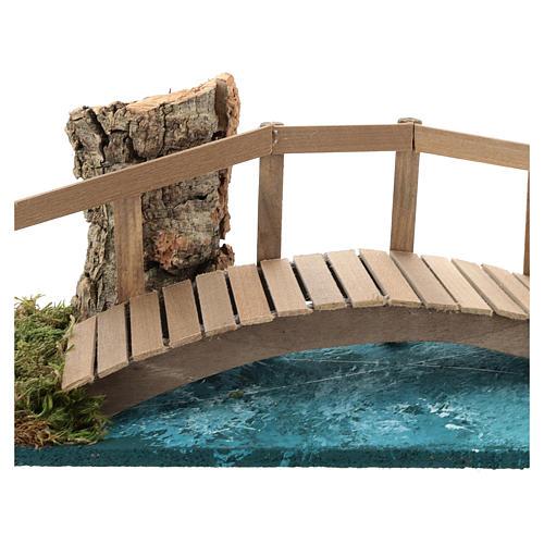 Puente con barandilla 10x25x10 cm ambientación belén 6-8 cm 2