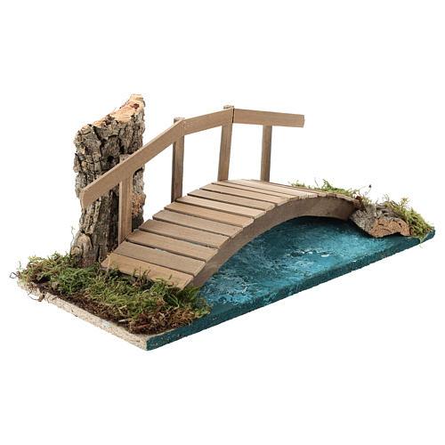Puente con barandilla 10x25x10 cm ambientación belén 6-8 cm 4