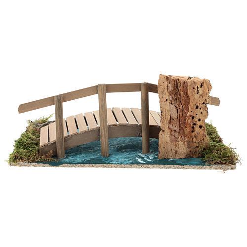 Puente con barandilla 10x25x10 cm ambientación belén 6-8 cm 5