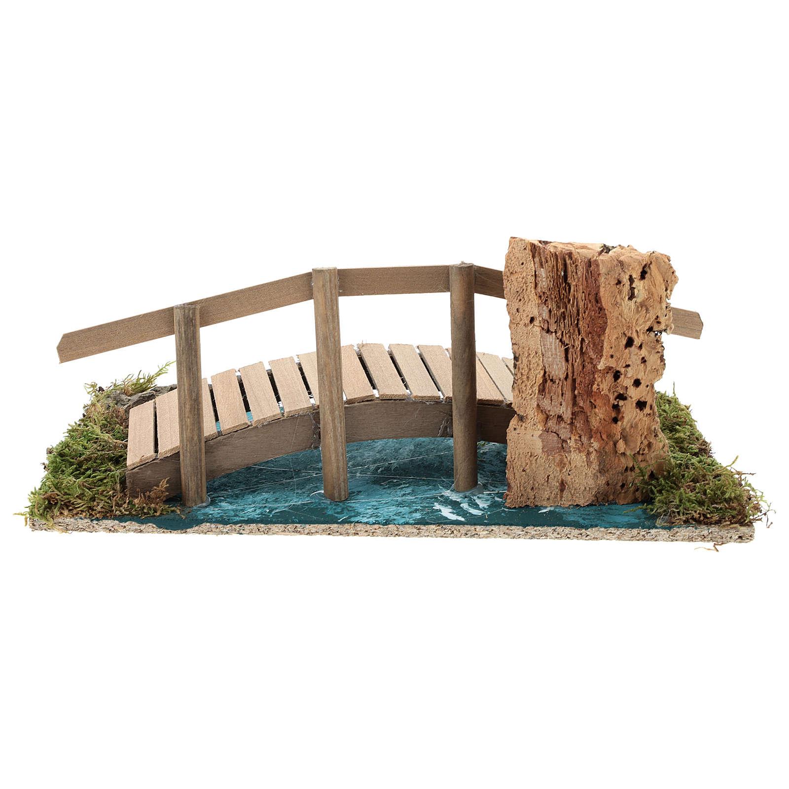 Pont avec rambarde 10x25x10 cm décor crèche 6-8 cm 4